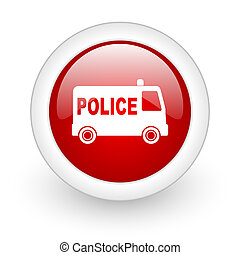 police red circle glossy web icon on white background