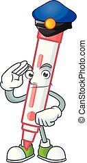 Police red white board marker in cartoon