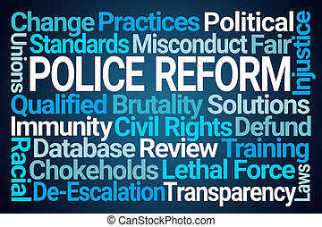 Police Reform Word Cloud on Blue Background