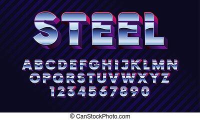 police, retro, vague, 80s, brillant, métallique, chrome, alphabet, effet, synth, élégant, futuriste, lettres, nombres, style, latin