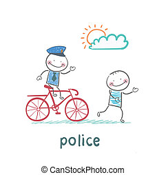 Police riding a bike for a criminal