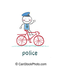 Police riding a bike