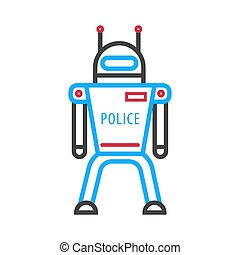 Police robot isolated on white background. Futuristic android military machine
