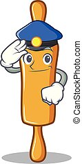 Police rolling pin character cartoon