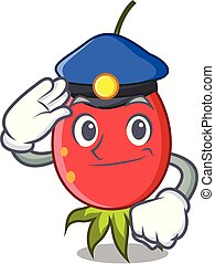 Police rosehip character cartoon style vector illustration