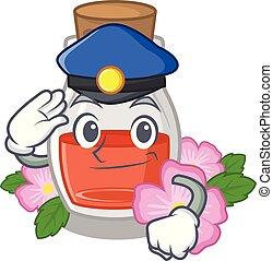 Police rosehip seed oil in cartoon bottle
