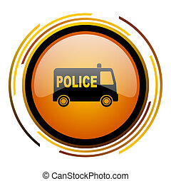 police round design orange glossy web icon