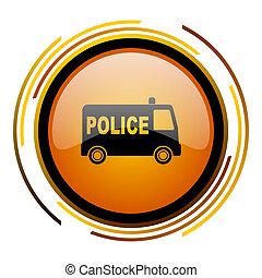 police round design orange glossy web icon