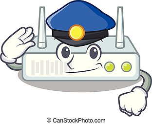 Police router in the a character shape vector illustration