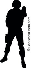 Police security forbids passage vector black silhouette