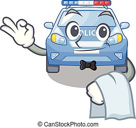 police, serveur, voiture, miniature, table, dessin animé