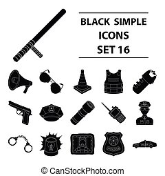 Police set icons in black style. Big collection of police vector symbol stock illustration