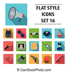 Police set icons in flat style. Big collection of police vector symbol stock illustration