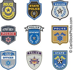 Police shield. Government agent badges and police department...