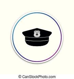 police, signe., casquette, isolé, illustration, button., arrière-plan., vecteur, blanc, icône, chapeau, cercle, cockade
