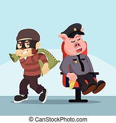 police, singe, voleur, graisse, dormir, quoique, facile, voler, cochon