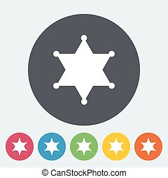 Police. Single flat icon on the circle. Vector illustration.