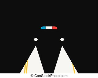 Police siren, night lights of a car. Retro style, noir. Vector illustration