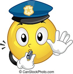 police, smiley, arrêt, illustration, siffler, mascotte