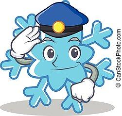 Police snowflake character cartoon style