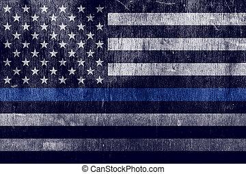 police, soutien, drapeau, fond, textured, vieilli