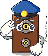 Police speaker character cartoon style