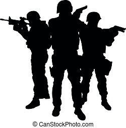 Police special forces officers vector black silhouette