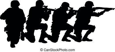 Police special forces team vector black silhouette
