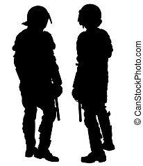 Police special one - People of special police force on white...