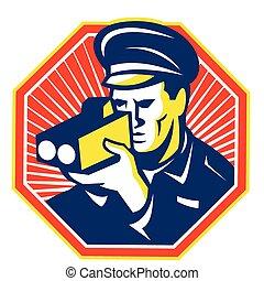 police-speed-camera-frnt-scanning - Illustration of a ...