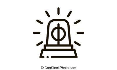 Police Squad Car Alarm Icon Animation. black Police Squad Car Alarm animated icon on white background