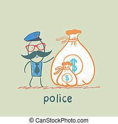 Police stands with a bag of money