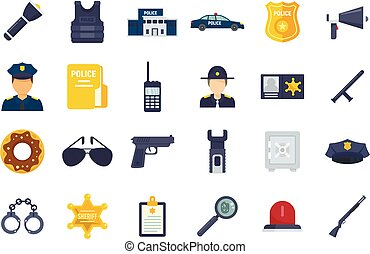 Police station icons set flat vector isolated
