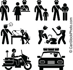 A set of pictograms representing police station scenario.
