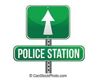 police station road sign