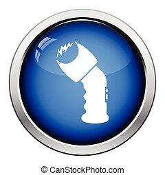 Police stun gun icon. Glossy button design. Vector...