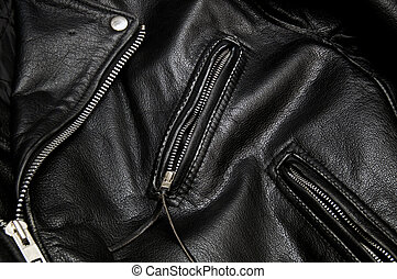 police style  black leather jacket detail