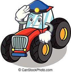 police, style, caractère, dessin animé, tracteur
