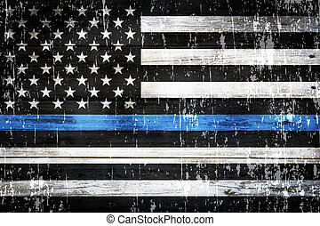 Police Support Flag Weathered Background - An American flag...