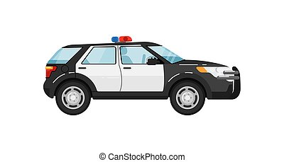 Police suv car isolated vector illustration on white...