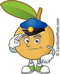 Police sweet longan cartoon character cute design.
