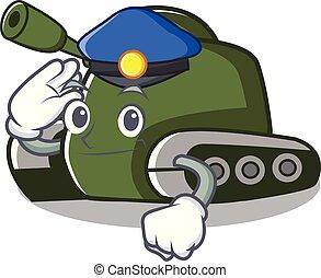 Police tank character cartoon style vector illustration