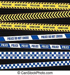 Police tape - A set of police crime scene tapes