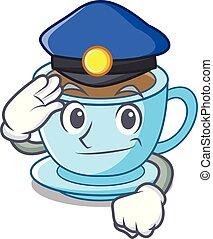 police, tasse, thé, dessin animé, délicieux, lait