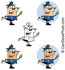 police, tenir club, officier