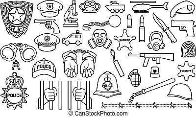 police thin line icons set (british bobby officer helmet, hat, bat, hands in handcuffs, revolver, chain with shackle, sheriff star shield, barbed wire, helicopter, bomb, gas mask, car, bullet)