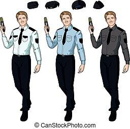 police, tient, taser, officier, mâle, caucasien