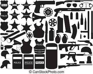 Police tools - Illustration of police tools isolated on...