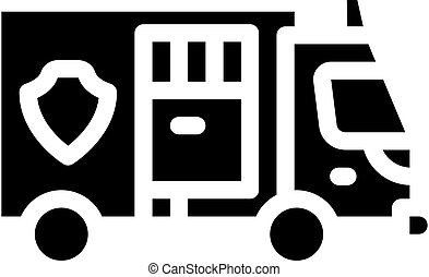 police truck glyph icon vector illustration isolated