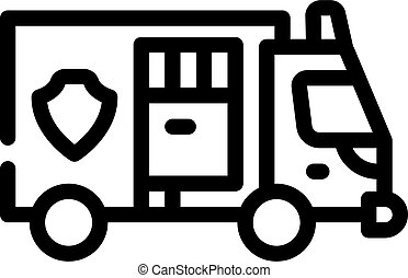 police truck line icon vector isolated illustration